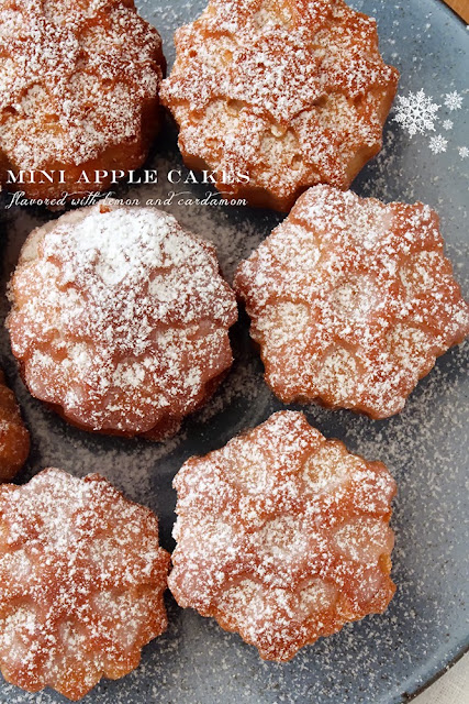 mini apple cakes flavored with lemon and cardamom
