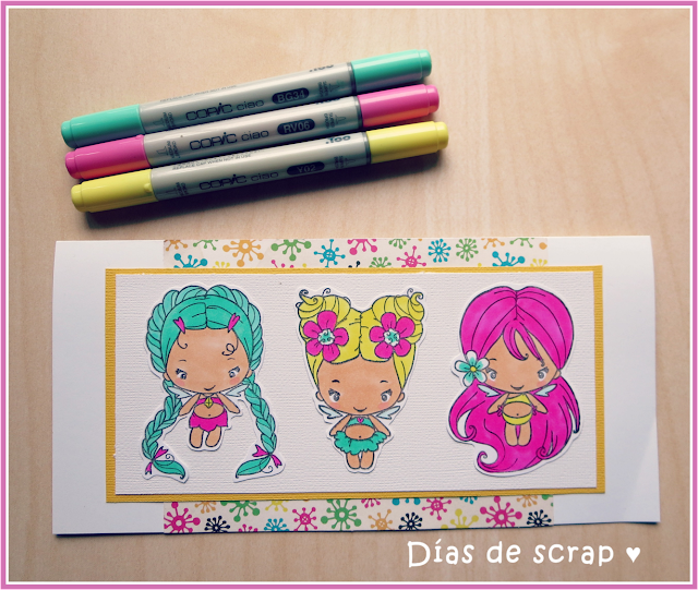 "scrap copic Postal con tres haditas ""Magic Bean Collection"" de The Greeting Farm para el reto de Copic España"