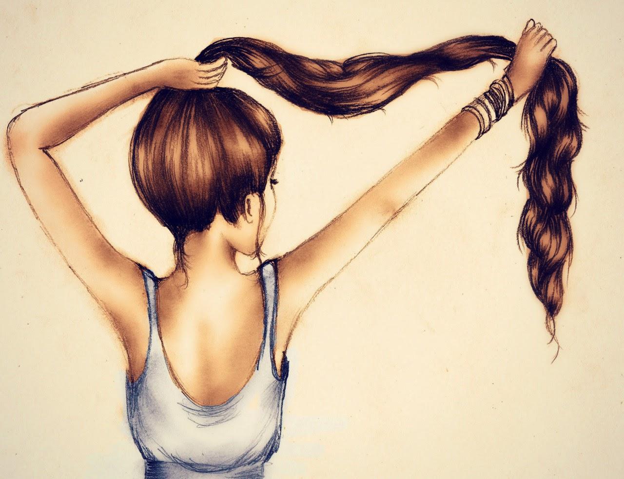 Девушка с длинными волосами рисунок карандашом