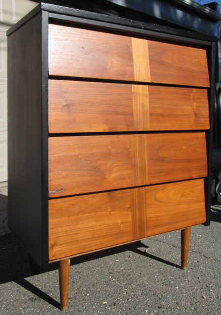 Black And Walnut Mid Century Angled Drawer Tallboy Dresser Sold