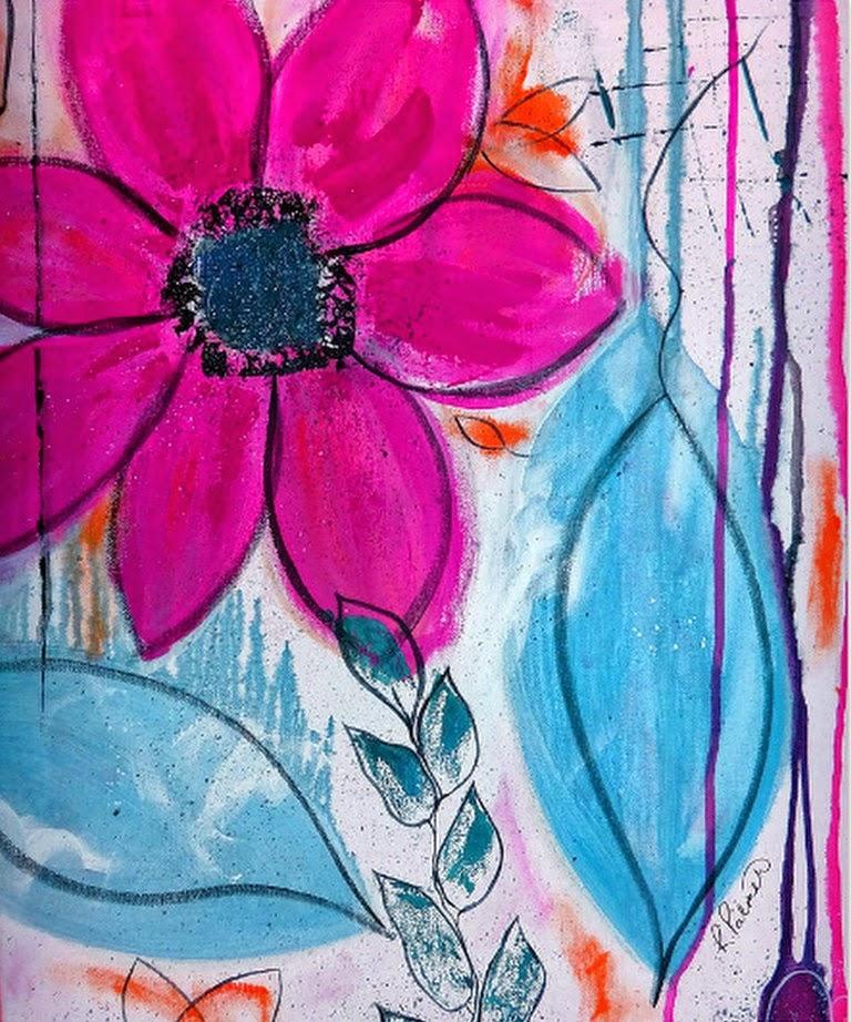 Pinturas cuadros lienzos cuadros grandes flores abstractas for Imagenes de cuadros abstractos faciles