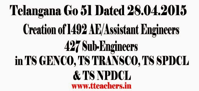 TS/Telangana Assistant Engineers/AEs,Sub-Engineers posts details in TS GENCO, TS TRANSCO, TS SPDCL & TS NPDCL,TS Go 51 Creation of 1492 AE/Assistant Engineers 427 Sub-Engineers,G.O.MS.No. 51. Dated:28.04.2015,sanctioned posts,created,new,