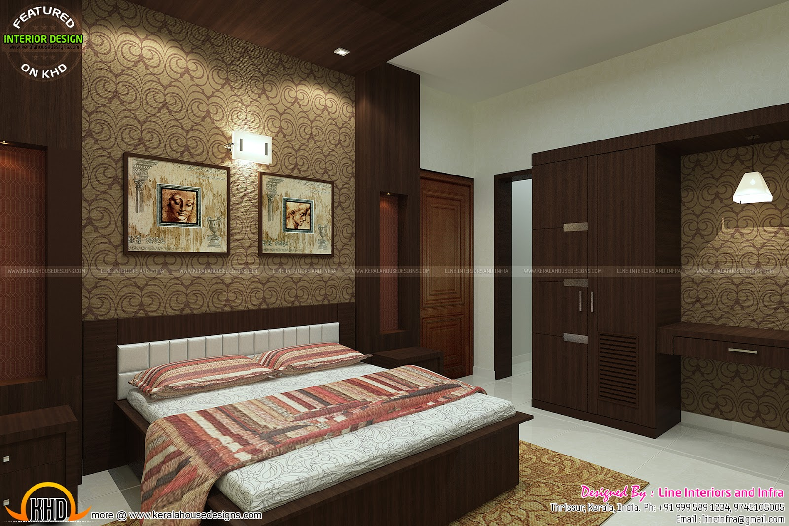 Kerala Home Front Elevation Pictures : Beautiful interior designs of bedrooms kerala home
