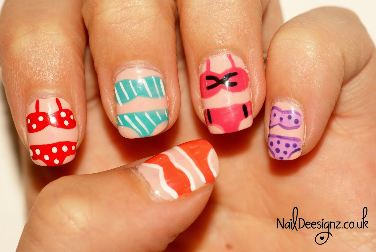 Naildeesignz bikini nail art you can really mix and match this design by doing all different colour bikinis and also halterneck bandeau or even a swimming costume prinsesfo Choice Image
