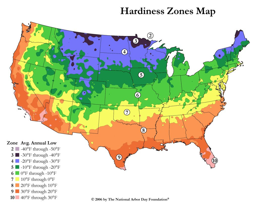 Landscape gardening4u plant hardiness zone map for Garden design zone 7