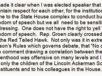 Speaker Demands Apology For Remark During Debate Over 4th Graders' Bird Bill