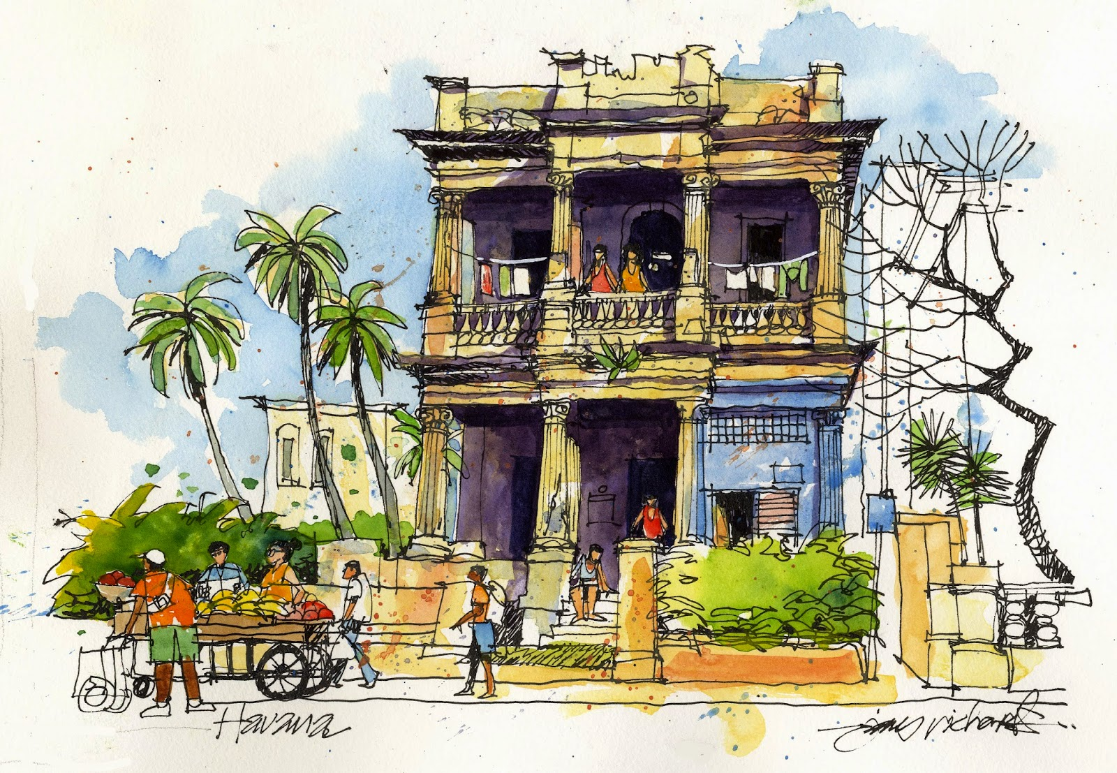 Sketched by JR from Texas, a building along one of many lovely Vedado avenidas © James Richards •±• Hotel Nacional in its very turistica neighbourhood © sogestour