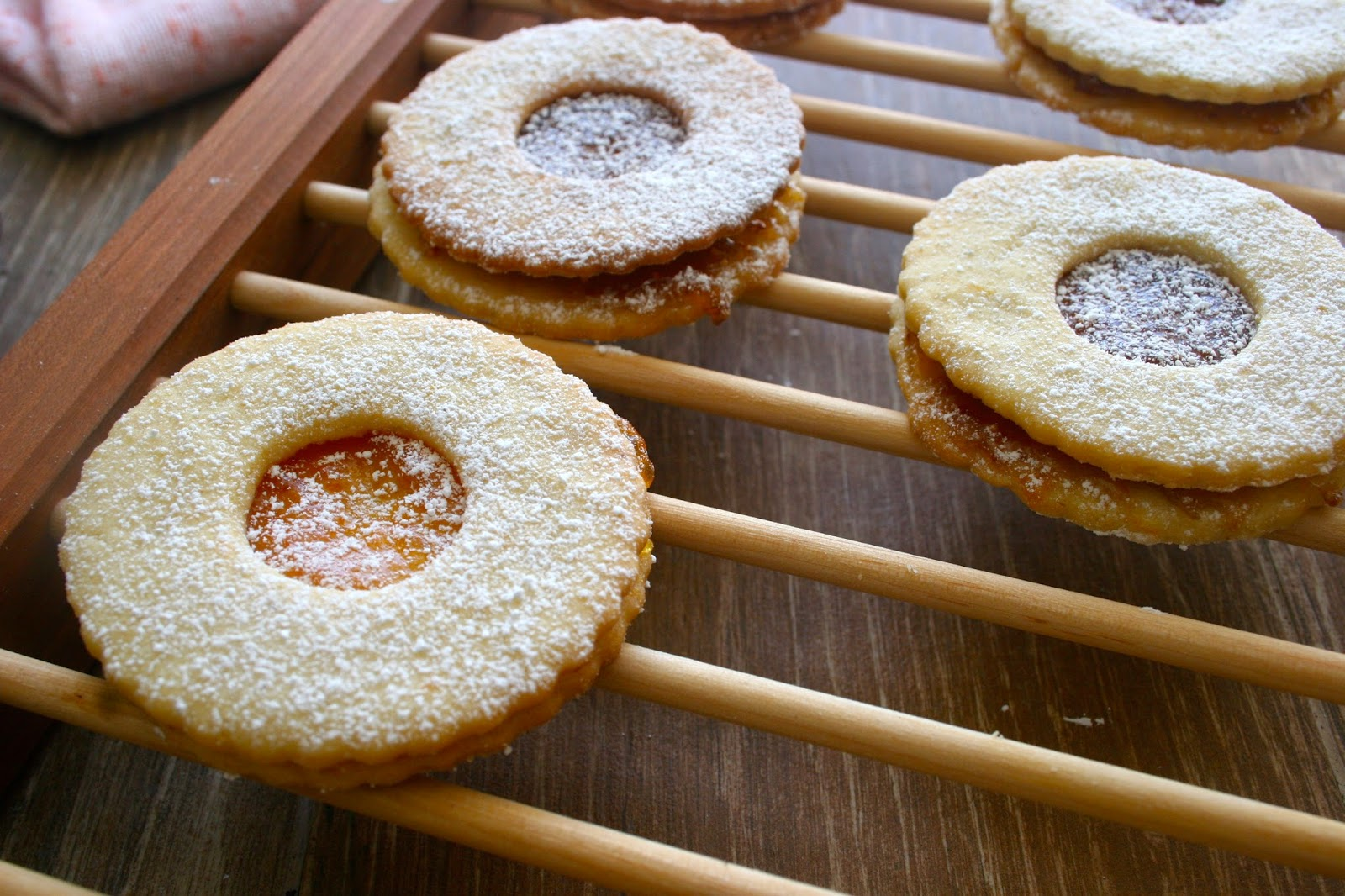 Jam Cookies on Wooden Baking Rack
