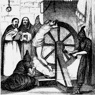 """L'image représente un homme subissant le supplice de la roue. Le supplice de la roue procédait de la façon suivante : le condamné était attaché sur une croix de Saint-André pourvue d'encoches sur la longueur. À ces endroits, le bourreau frappait les membres avec une barre de fer pour les briser. Puis il défonçait la poitrine d'un grand coup. Il attachait alors le supplicié, bras et jambes repliés sous lui, sur une roue montée sur un essieu et le laissait ainsi exposé jusqu'à ce que mort s'ensuive. Toutefois, sur l'image, le supplice est différent de celui décrit. un homme nu à l'exception d'un pagne est attaché à une roue en bois, mais pas en son centre, le dos sur la tranche de la roue. On voit un bourreau encapuchonné en train d'actionner celle-ci à l'aide d'une manivelle. Derrière la roue, deux hommes d'église observent le spectacle. On peut également apercevoir sur l'image deux autres bourreaux, dont l'un semble à genoux. Cette image en noir et blanc illustre le poeme """"La roue"""" du Marginal Magnifique dans lequel le poete parle de la rapidité du temps qui passe et, de ce fait, des périodes de la vie qui constituent un cycle à l'image d'une roue qui tourne. Le poete joue egalement sur le sens de l'expression """"la roue tourne""""  signifiant que les choses changent, évoluent et que ce qui arrive à l'un arrivera à l'autre un jour ou l'autre. Ainsi, Le Marginal Magnifique parle de Noël et des anniversaires qu'il fêtait avec liesse étant gosse, alors que maintenant il se place en observateur des enfants qui se retrouvent a sa place d'autrefois. L'image du supplice de la roue est donc particulièrement bien choisie puisqu'elle exprime de façon frappante et condensée, brillamment, avec cynisme et ironie, que la vie est difficile, qu'elle évolue et se répète selon des cycles, enfin qu'elle s'achève par la mort."""