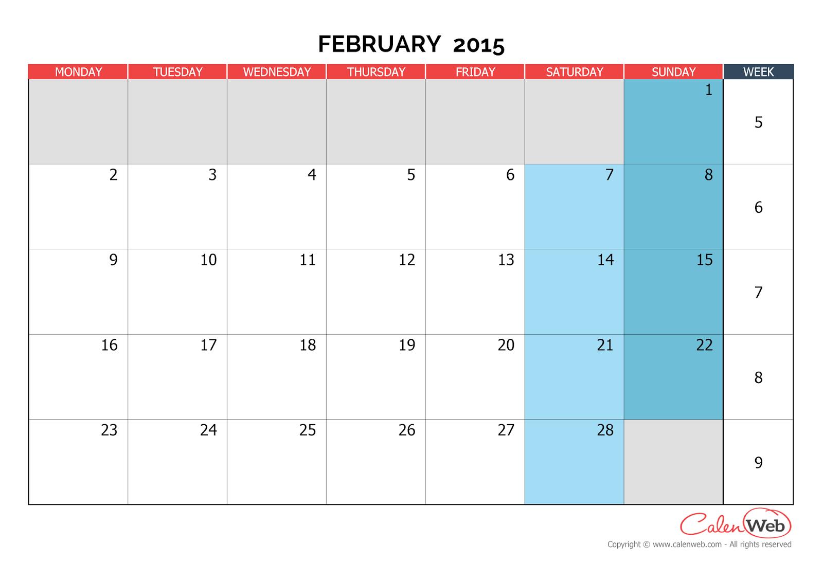 Calendar February : Free printable calendar february