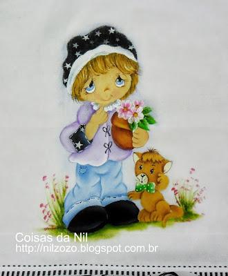pintura em tecido de menina do Preciosos Momentos com gato