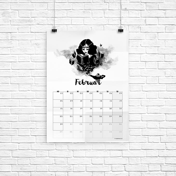 Kalenderblatt Februar – ein lesender Dschinni! // Illustration/Kalendarium © fieberherz.de