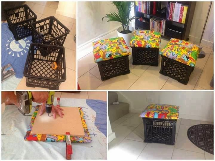 http://diycozyhome.com/milk-crates-into-toy-bin-and-seating-unit/