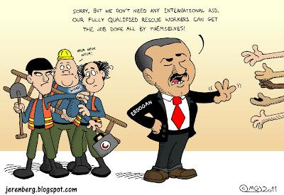 turkey erogan international aid refusal earthquake outstretched hands three stooges moe larry curly slap whap fully qualified rescue workers nyuk nyuk nyuk