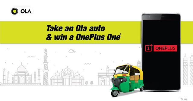 Ride with OlaAuto and Win One Plus One Phone