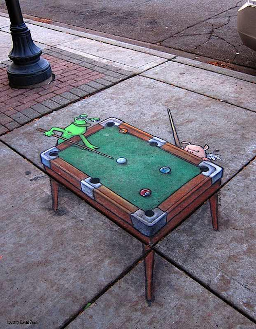 3d chalk drawings - sidewalk chaulk - david zinn art