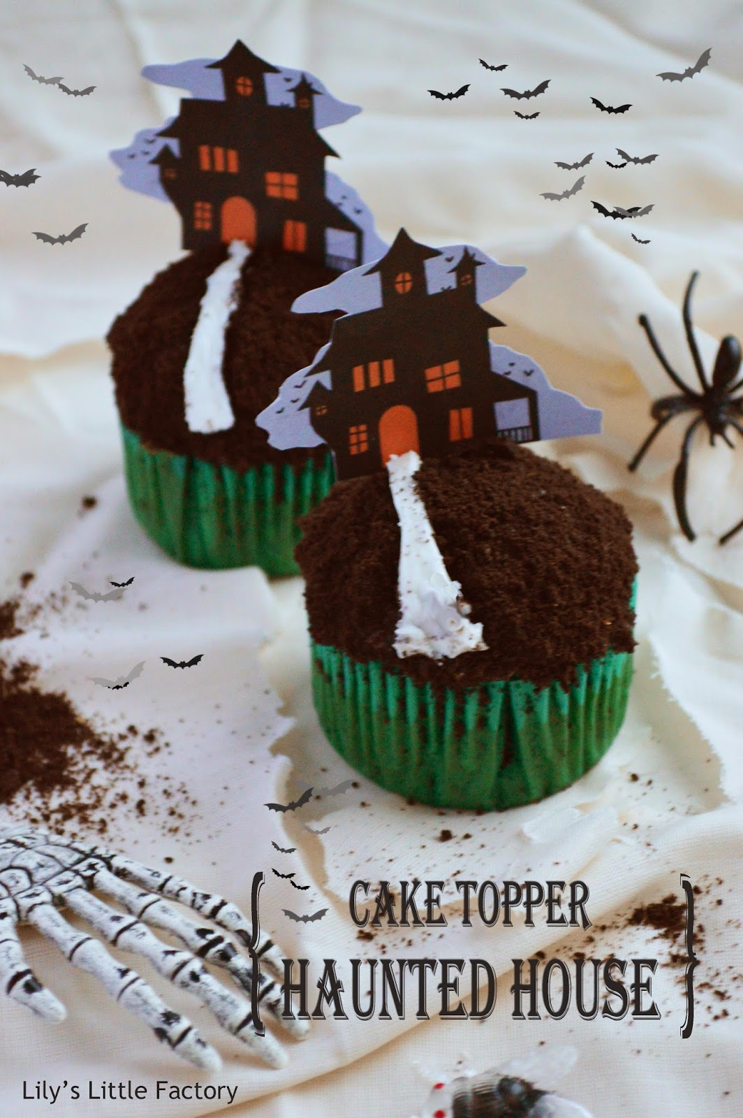 cake topper maison hantee à télécharger {diy déco de gâteau