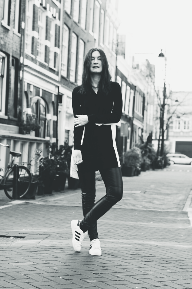 monochrome adidas superstar outfit inspiration fashion blogger