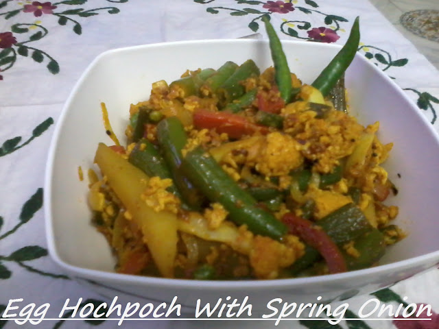 Egg Hochpoch With Spring Onion And Veggies