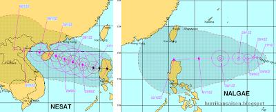 Erwarteter Weg / Verlauf / Zugbahn Taifune NESAT und NALGAE, Vorhersage Forecast Prognose, Verlauf, Zugbahn, Nesat, Nalgae, September, Oktober, 2011, Taifunsaison, Taifun Typhoon, Vietnam, Philippinen,
