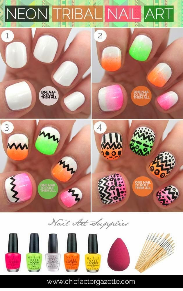 simple and easy nion nail art