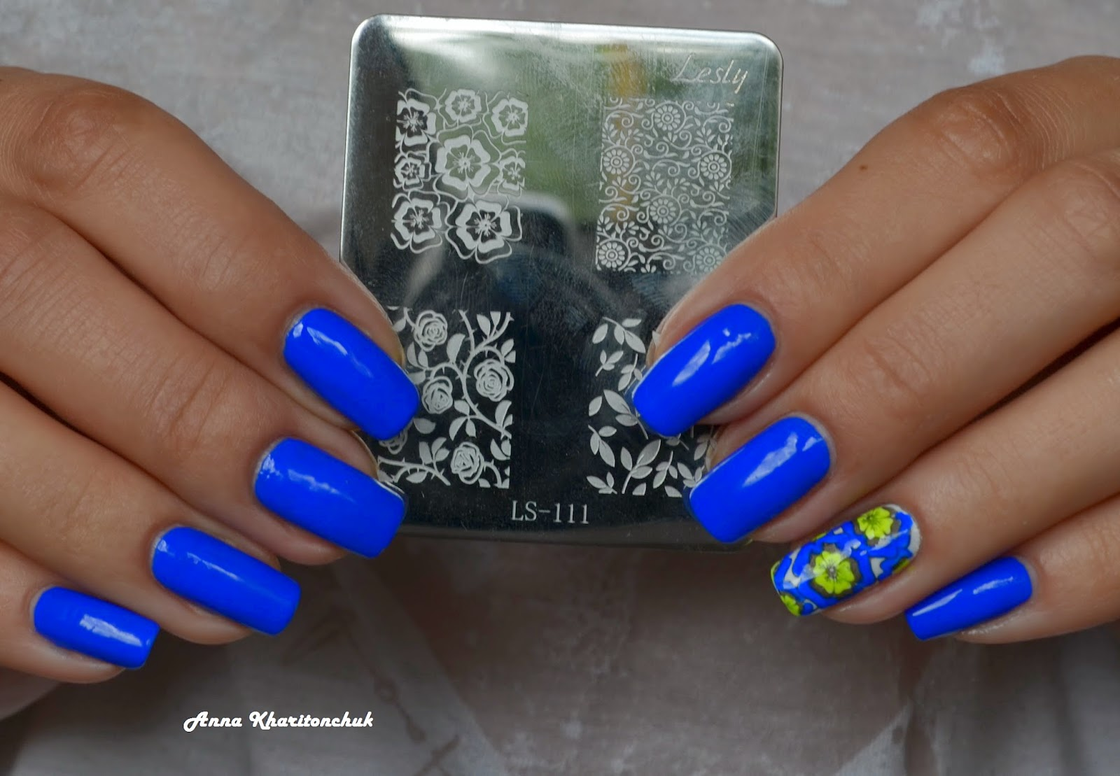 Kiko 336 Electric Blue + стемпинг Lesly