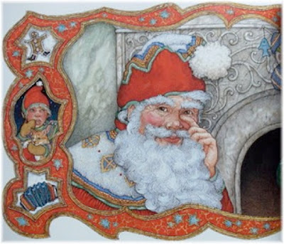 sample page from Jan Brett's The Night Before Christmas
