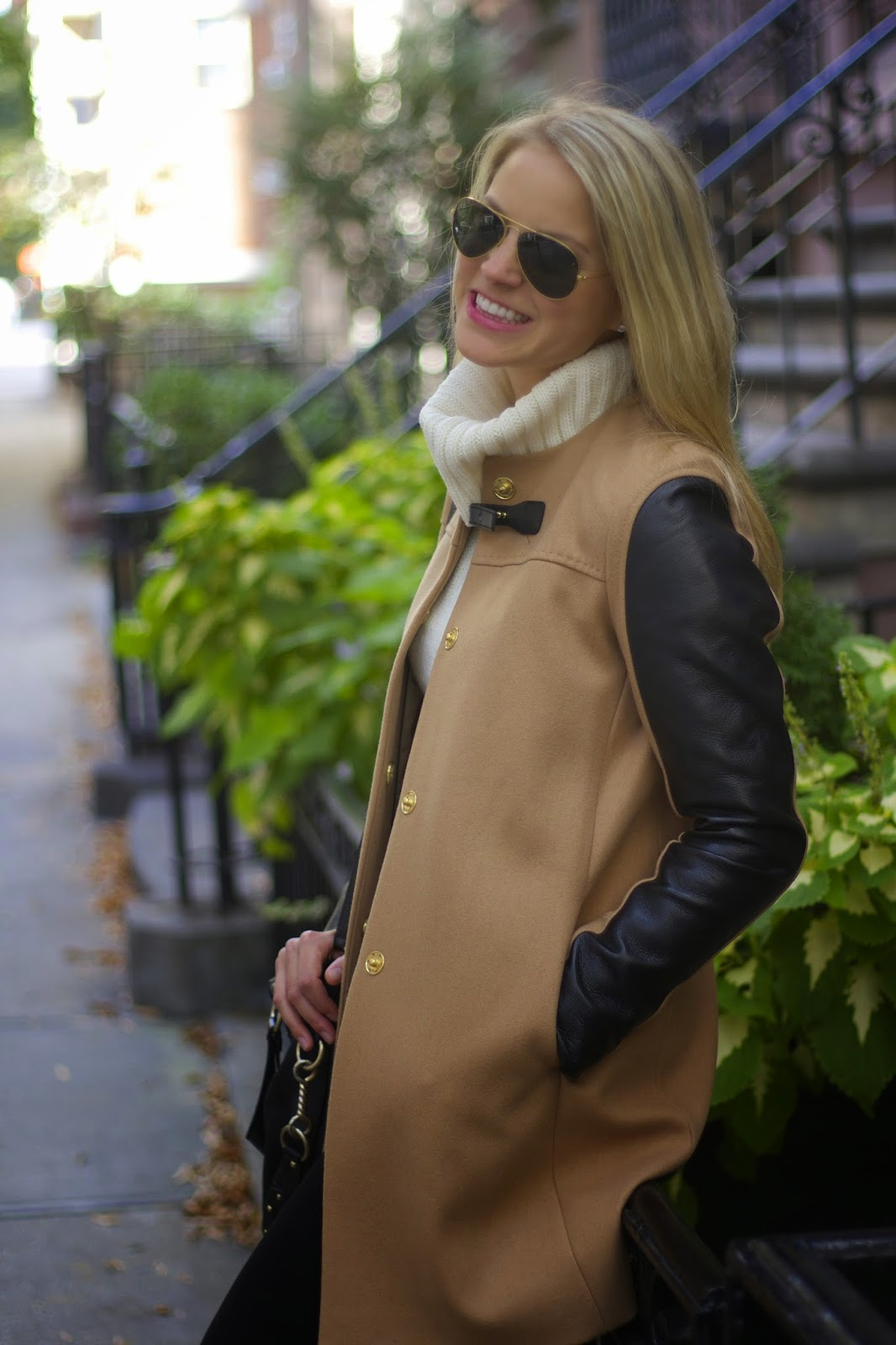 camel coat, sweater, turtleneck sweater, ankle moto boots, french connection