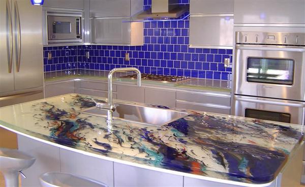 Idee Deco Pour Chambre Mixte : Design Interieur France Comptoirs de cuisine en verre uniques