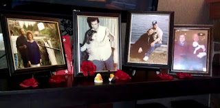 The mantel holds Charlene and Chris's family photos.