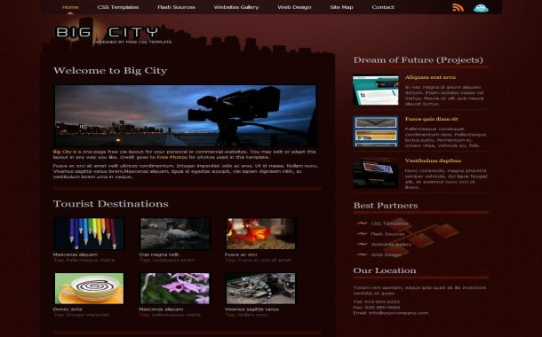 Dark Red Brown City Free CSS Website Template