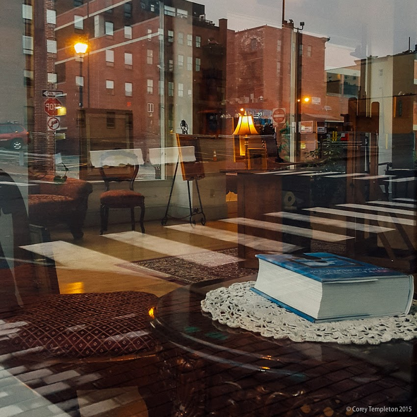 Portland, Maine USA September 2015 reflections in window of Roux & Cyr International Fine Art Gallery on corner of Free and Center Streets. Photo by Corey Templeton.