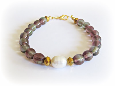 image tutorial diy contrasts bracelet freshwater pearl purple