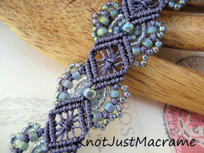 Micro Macrame bracelets in hydrangeas pattern by Sherri Stokey of Knot Just Macrame