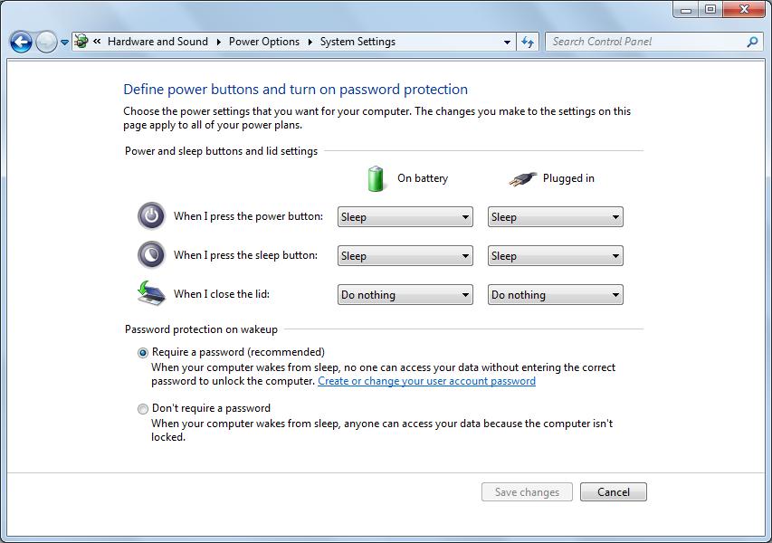 no password after sleep windows 7