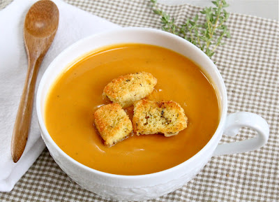 Sweet potato bisque with homemade seasoned croutons