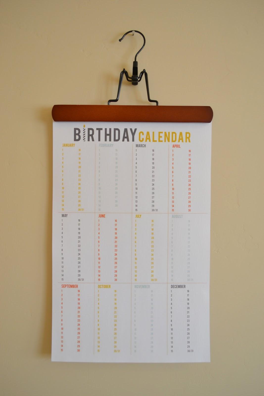 Birthday Calendar Printable : Craftaphile printable birthday calendar