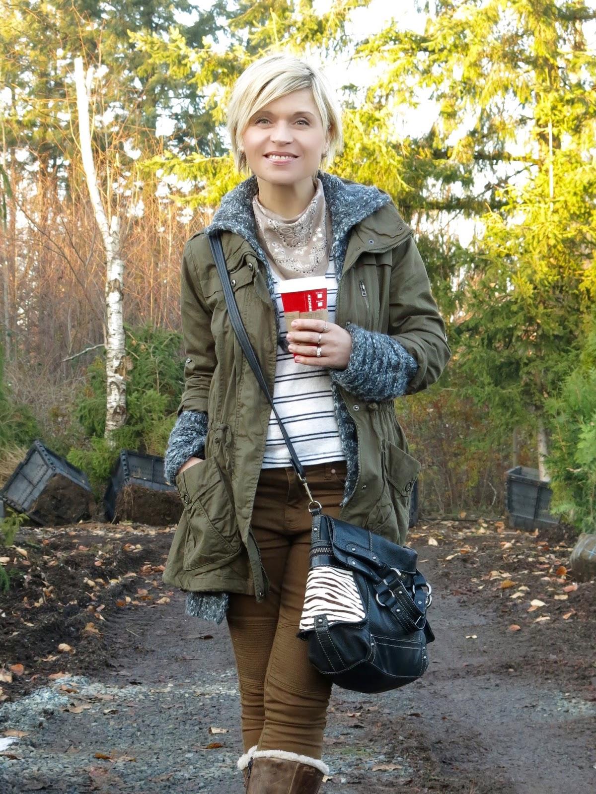 khaki skinnies, striped tee, neckerchief, and layered jackets