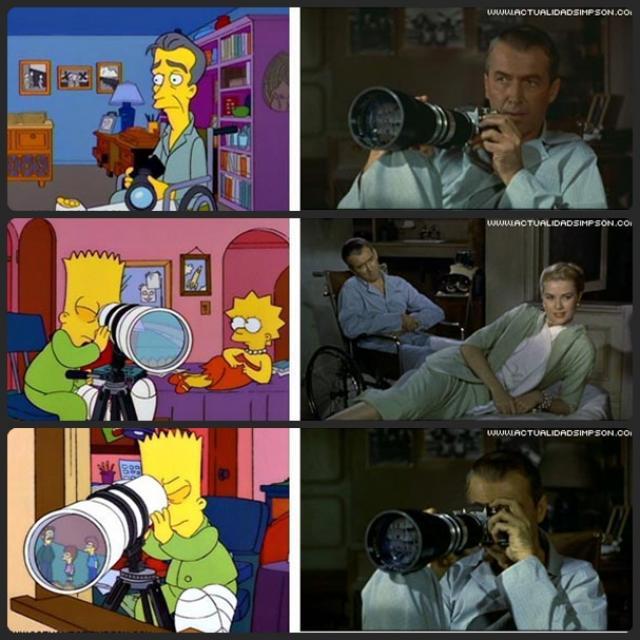 Escena de Los Simpsons emulando la película La ventana indiscreta