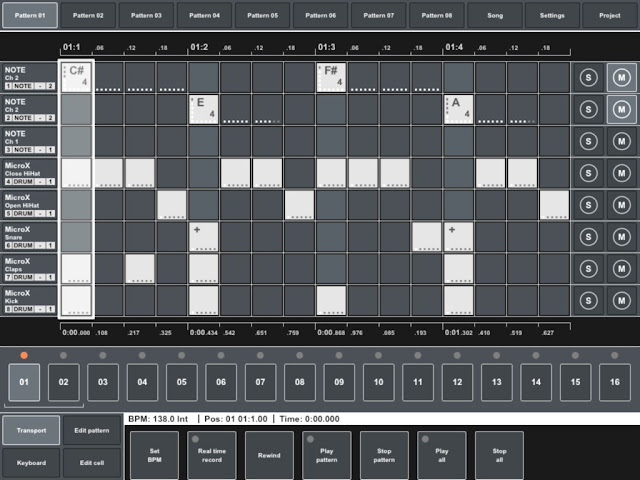 MIDI Pattern Sequencer - Pattern view