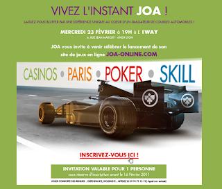 ouverture du poker sur joa online