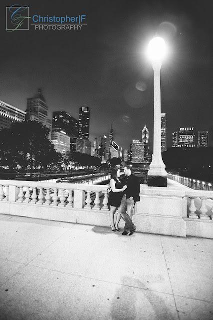 Chicago Street Light Engagement Photo