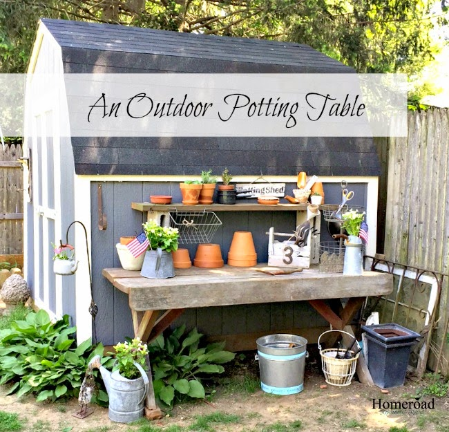A Repurposed Outdoor Potting Table www.homeroad.net