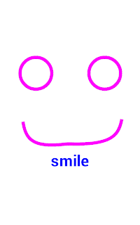 "Image from the game: A smiling face, with the word ""Smile"" beneath it."