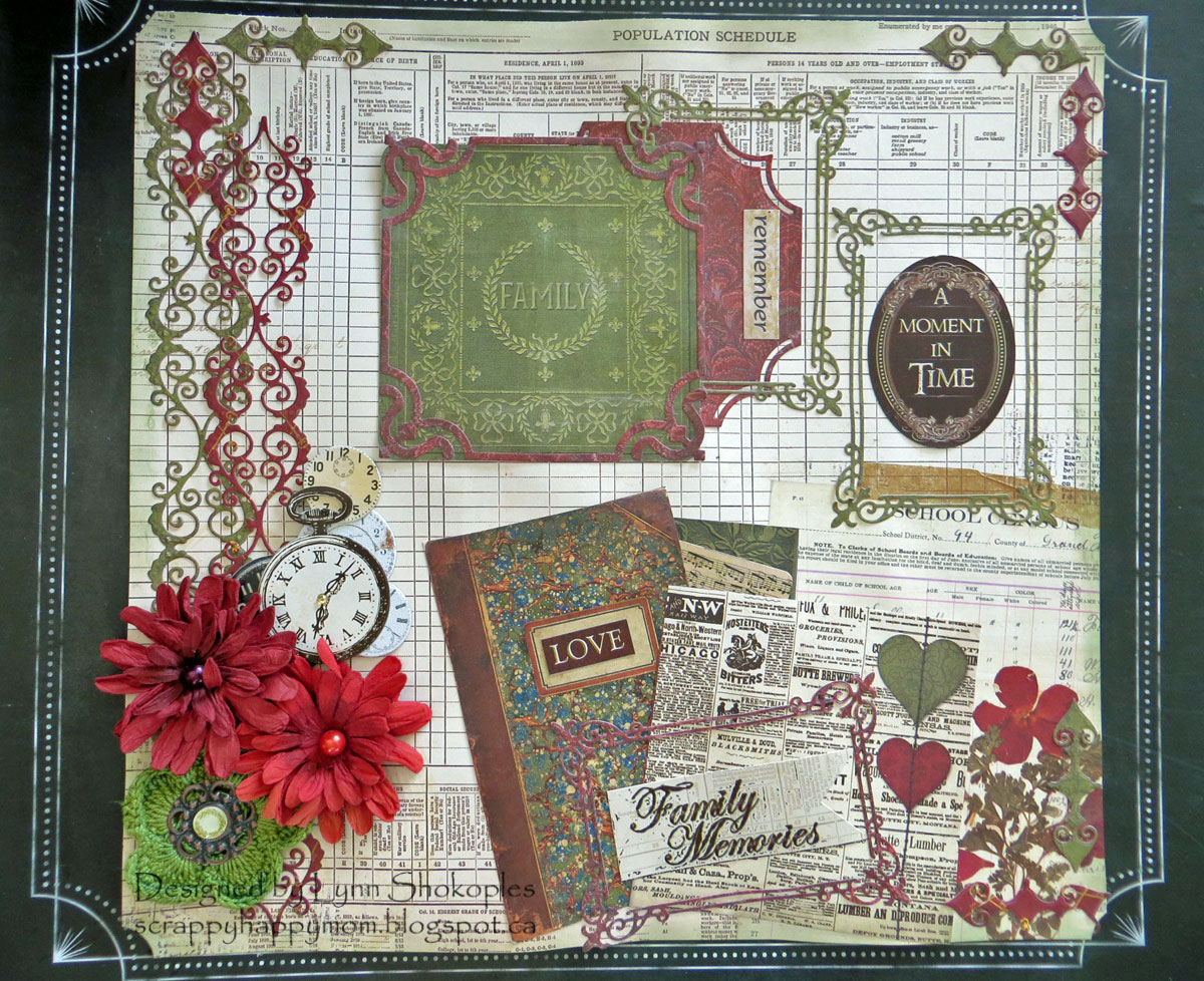Misc. Me 12x12 Binder Cover by Lynn Shokoples for BoBunny featuring the Heritage Collection and Craft Dies