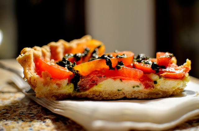 Heirloom tomato tart with lemon-feta mascarpone | Cheesy Pennies