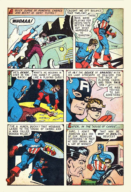 Marvel Mystery 83 Cap story page with gambling den the 'House of Cards' mentioned