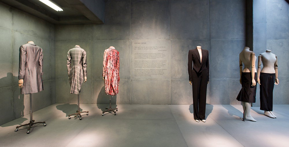 "Installation view of ""savage mind"" / Alexander McQueen Savage Beauty exhibition / Victoria & Albert Museum London / via fashioned by love british fashion blog"