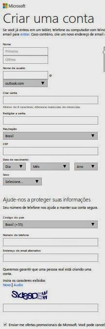 Preencher formulário para criar um e-mail