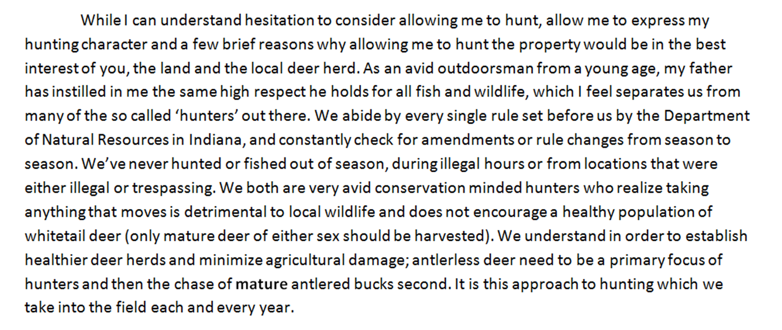 Small acre hunting writing a can i hunt letter okay so ive described what type of hunter i am honestly now i state how i will act on his or her property spiritdancerdesigns Choice Image